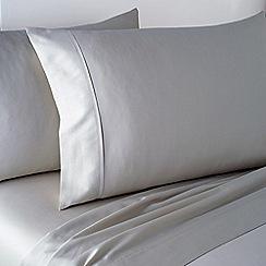 DKNY - Silver cotton sateen 300 thread count 'Soho Grid' flat sheet