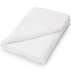 Hotel - White brushed cotton plain dye 'Verbier' flat sheet