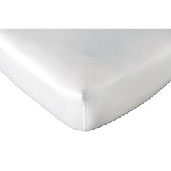 DKNY - White cotton sateen 300 thread count 'Soho' fitted sheet