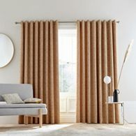 Bedeck 1951 - Dark orange linen, polyester and viscose 'Agra' lined curtains