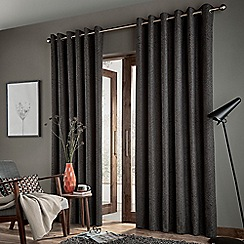 Bedeck of Belfast - Dark grey polyester cotton and linen 'Arro' lined curtains