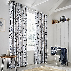 Clarissa Hulse - Blue Cotton Sateen 'Blowing Grasses' Lined Curtains