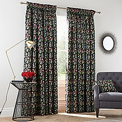 V & A - Multicoloured cotton sateen 'Campion' lined curtains