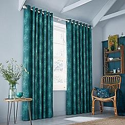Clarissa Hulse - Aqua Cotton Panama 'Dill' Lined Curtains