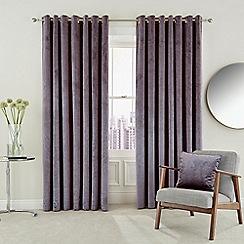Hotel - Dark purple polyester velvet 'Escala' lined curtains