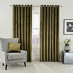 Hotel - Olive polyester velvet 'Escala' lined curtains