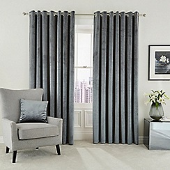 Hotel - Silver polyester velvet 'Escala' lined curtains