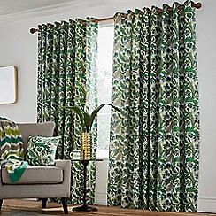 Helena Springfield - Bright green cotton half panama 'Jacaranda' lined curtains