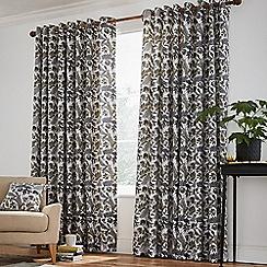Helena Springfield - Dark grey cotton half panama 'Jacaranda ' lined curtains