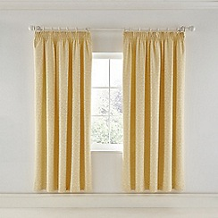 Helena Springfield - Light yellow viscose and polyester 'Josey' lined curtains