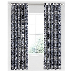 Bedeck 1951 - Dark blue cotton sateen 'Juma' lined curtains