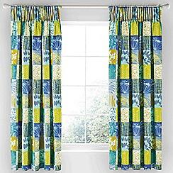 Clarissa Hulse - Aqua cotton sateen 'Mini Patchwork' lined curtains