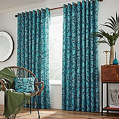 Helena Springfield - Blue cotton half panama 'Oasis Oceanic' lined curtains