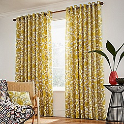 Helena Springfield - Bright yellow cotton half panama 'Oasis Safari' lined curtains