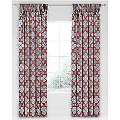 Bedeck of Belfast - Red cotton sateen 'Oska' lined curtains