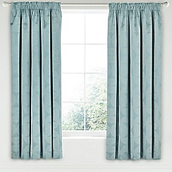 Helena Springfield - Aqua cotton and polyester 'Posy lined curtains