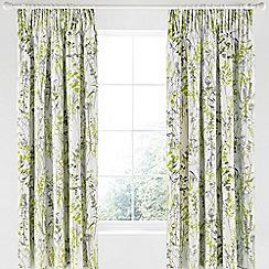Clarissa Hulse - Light green cotton sateen 'Prairie' lined curtains