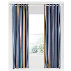 Bedeck 1951 - Dark blue cotton sateen 'Tamar' lined curtains