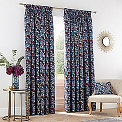 V & A - Multicoloured cotton sateen 'Twilight Garden' lined curtains