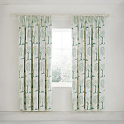 Sanderson - Aqua Cotton Sateen 'Willow Tree' Lined Curtains
