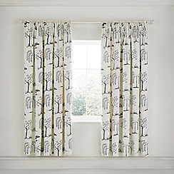 Sanderson - Light Grey Cotton Sateen 'Willow Tree' Lined Curtains