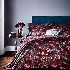 V & A - Dark red cotton 'Oriental Peony' bedding set