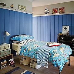 Little Sanderson - Kids' blue 300 thread count 'Treasure Map' single duvet cover and pillow case set