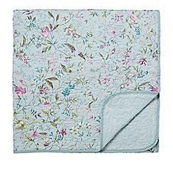 V & A - Aqua cotton 'Botanica' quilted bedspread