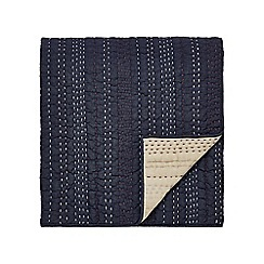 Clarissa Hulse - Dark blue cotton chambray 'Indigo Patchwork' quilted throw