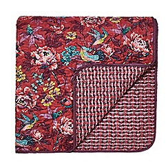 V & A - Dark red cotton 'Oriental Peony' quilted bedspread