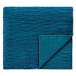 Clarissa Hulse - Blue cotton velvet 'Angeliki' Quilted bedspread