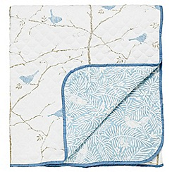 Sanderson - Light blue patterned 'Dawn Chorus' throw
