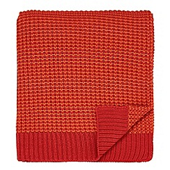 Helena Springfield - Bright orange acrylic 'Fay Melody' knitted throw
