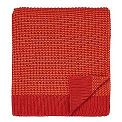 Helena Springfield - Bright orange acrylic 'Fay Melody' knitted throw