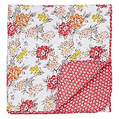Helena Springfield - Bright orange polyester and cotton 'Fay' quilted throw