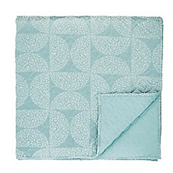 Helena Springfield - Aqua cotton and polyester 'Posy' quilted bedspread