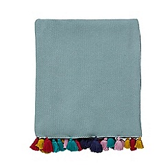 Harlequin - Aqua cotton 'Quintessence' knitted throw