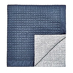 Fable - Dark blue cotton sateen 220 thread count 'Samarinda' quilted bedspread