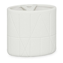 DKNY - White porcelain 'Geometrix' toothbrush holder