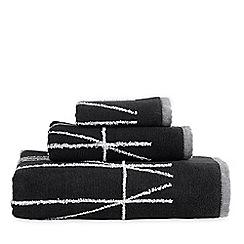 DKNY - Black cotton 'Geometrix' jacquard towels