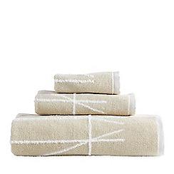 DKNY - Ivory cotton 'Geometrix' jacquard towels