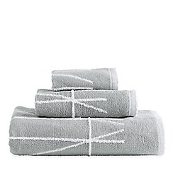 DKNY - Silver cotton 'Geometrix' jacquard towels