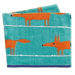 Scion - bright turquoise 'Mr Fox' beach towels