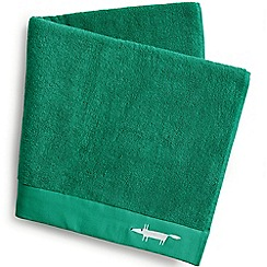 Scion - Bright green cotton terry 'Mr Fox' embroidered towels