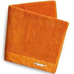 Scion - Orange cotton terry 'Mr Fox' embroidered towels