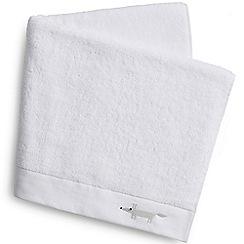 Scion - White cotton terry 'Mr Fox' embroidered towels