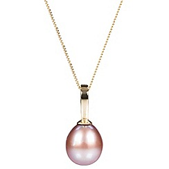 Pure Luxuries London - Gift packaged 'Litsa' pink river pearl and 9ct yellow gold necklace