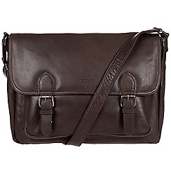 Conkca London - Dark brown 'Brixton' handcrafted leather satchel