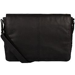 Conkca London - Black 'Bermondsey' fine leather messenger bag