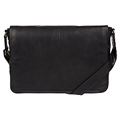 Conkca London - Black 'Bermondsey' buffalo leather messenger bag